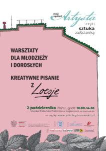 zdecydowaną większość plakatu zajmuje rysowany różowy bok budynku, prawdopodobnie bloku, na którym napisane są informacje o warsztatach z Loesje